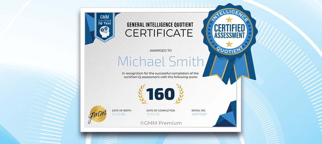 Mock-up of an IQ certificate
